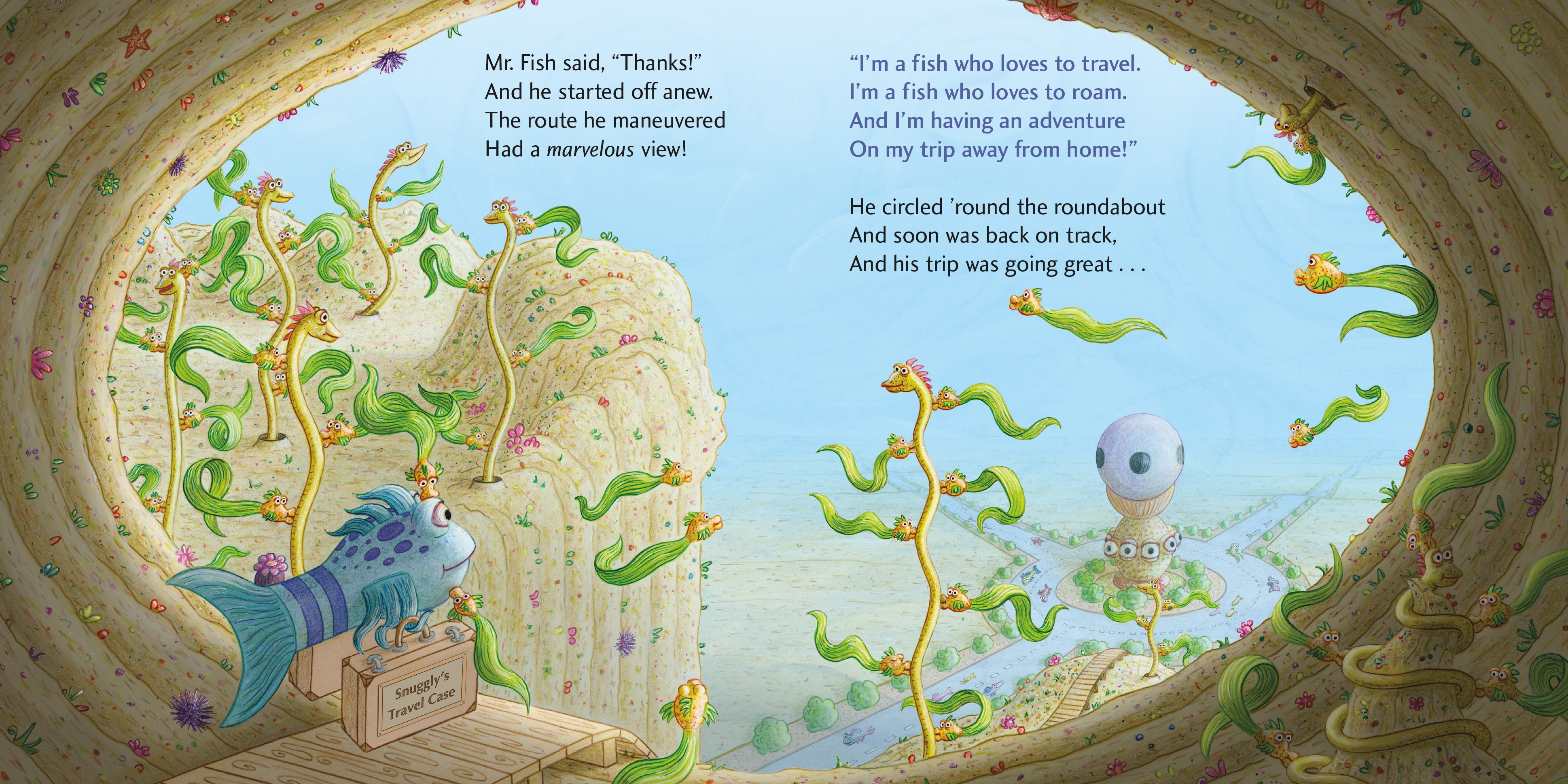 Interior book image for The Pout-Pout Fish, Far, Far from Home
