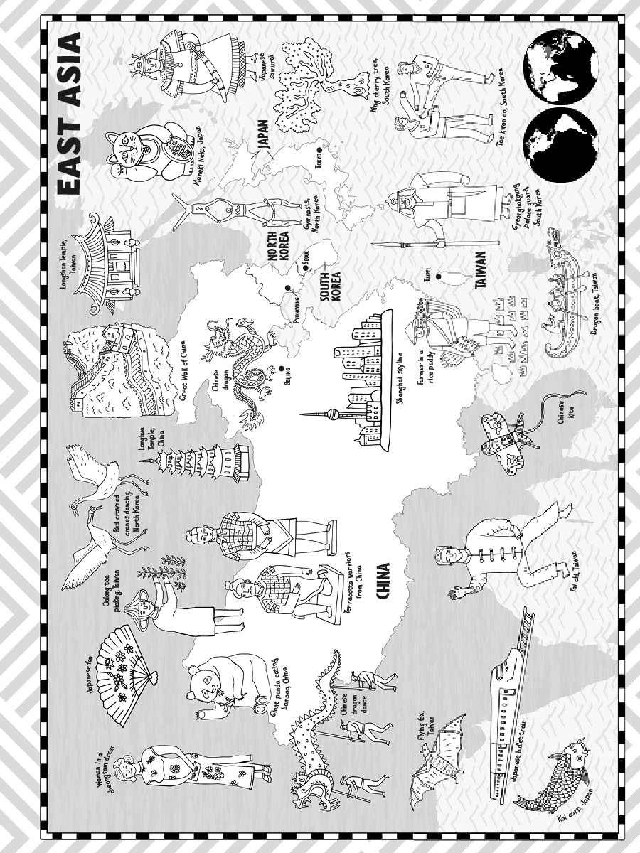 Coloring sheet great wall of china - Color Your Way Around The World And Discover The Landmarks Animals And People That Make Each Country And Continent Unique