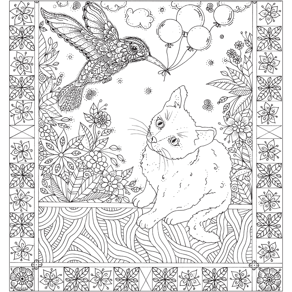 Interior book image for Zendoodle Colorscapes: Garden Kitties
