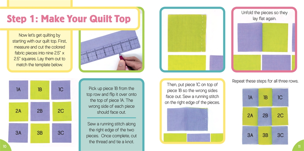 Interior book image for Tiny World: Quilting!