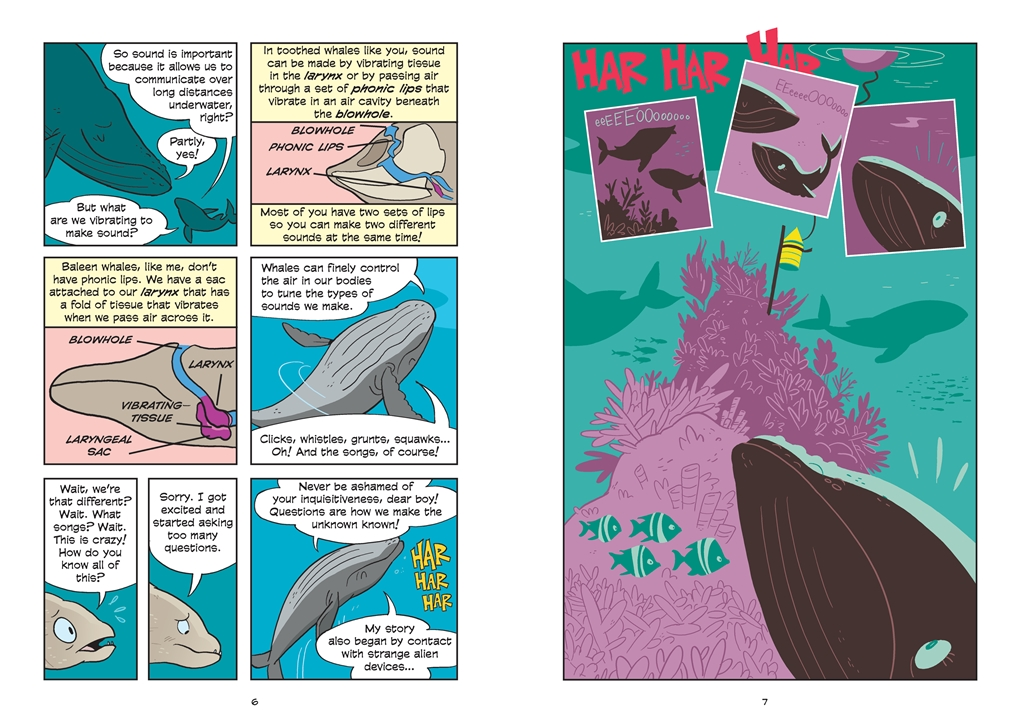 Interior book image for Science Comics: Whales