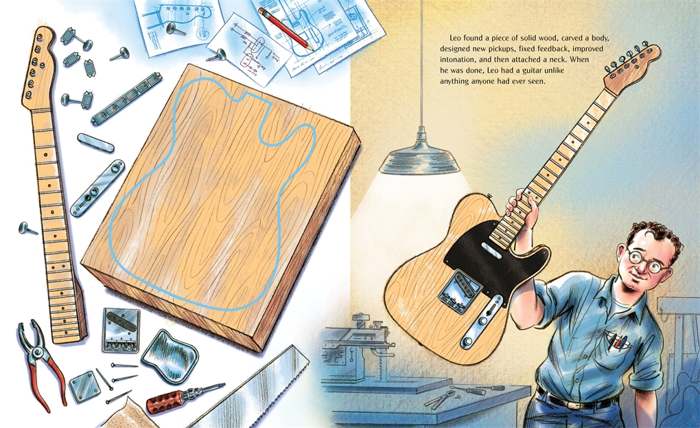 Interior book image for Gizmos, Gadgets, and Guitars: The Story of Leo Fender