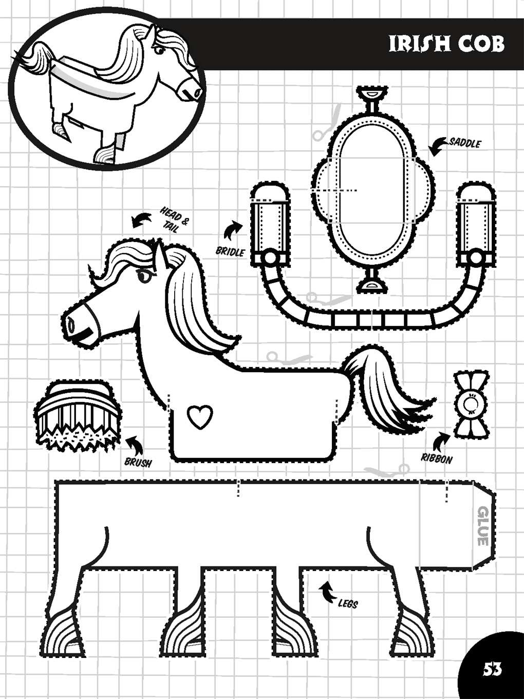 Interior book image for Color, Cut, Create Play Sets: Horse Ranch