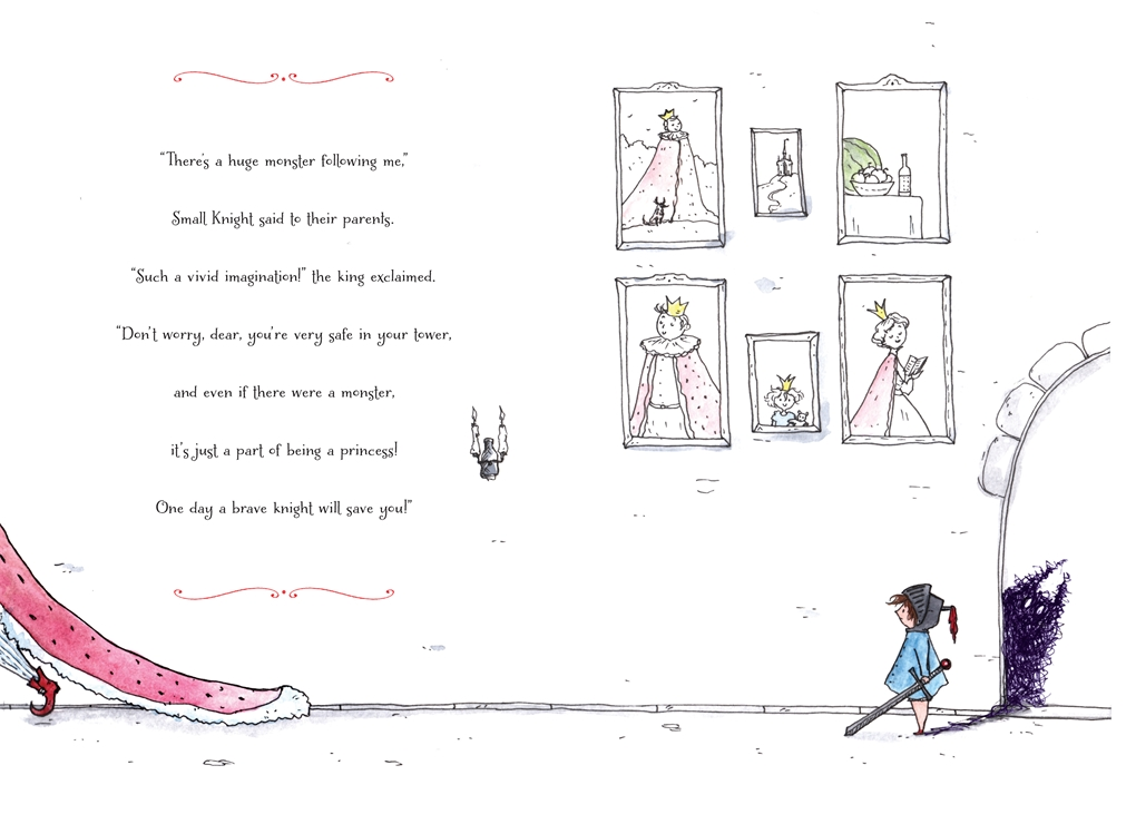 Interior book image for Small Knight and the Anxiety Monster