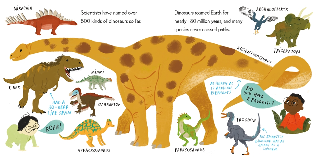 Interior book image for Nerdy Babies: Dinosaurs