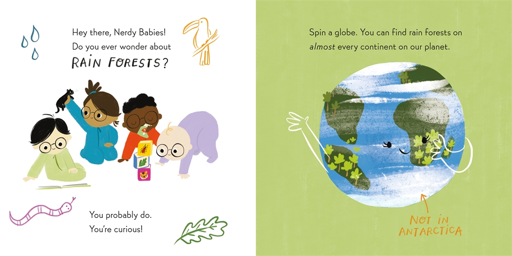 Interior book image for Nerdy Babies: Rain Forests