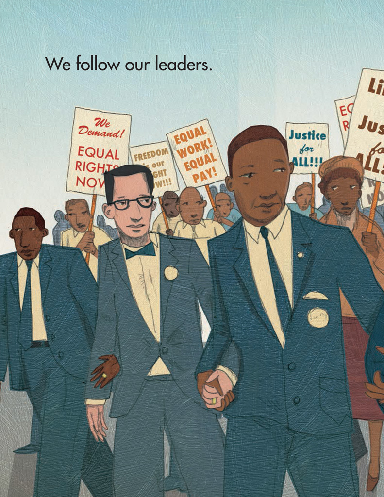 Interior book image for We March