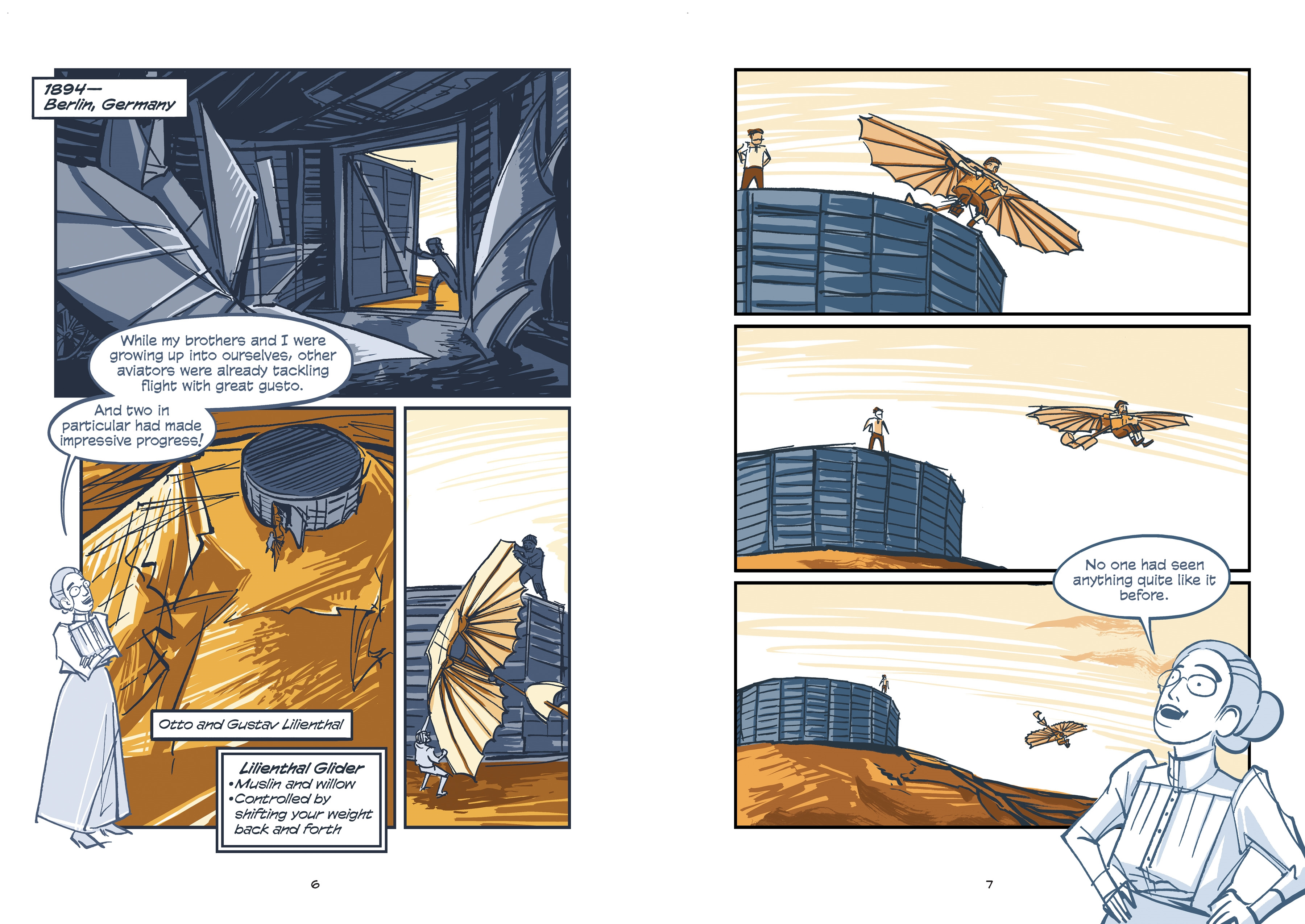 Interior book image for Science Comics: Flying Machines