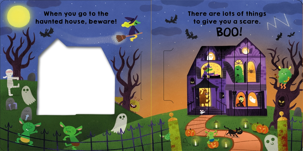 Interior book image for Sliding Pictures: Spooky Halloween
