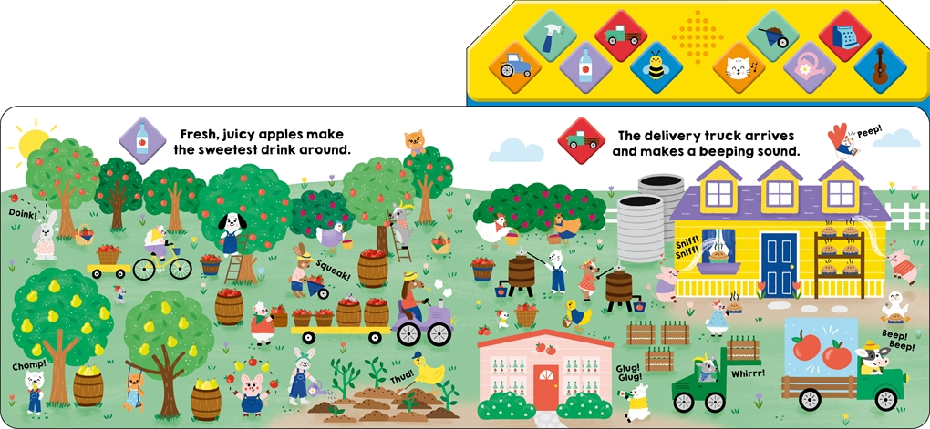 Interior book image for What Can You Hear: On the Farm