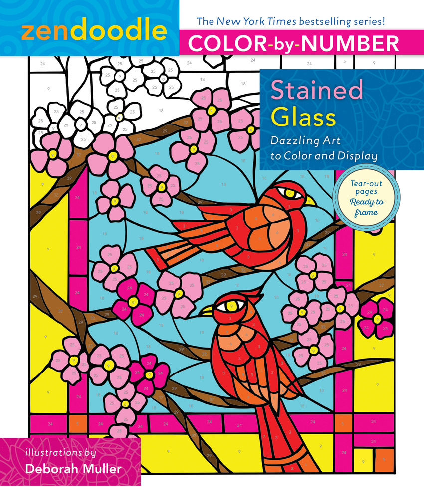 Zendoodle Color-by-Number: Stained Glass